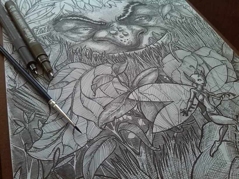 hada y troll, ilustración en tinta y agua 0