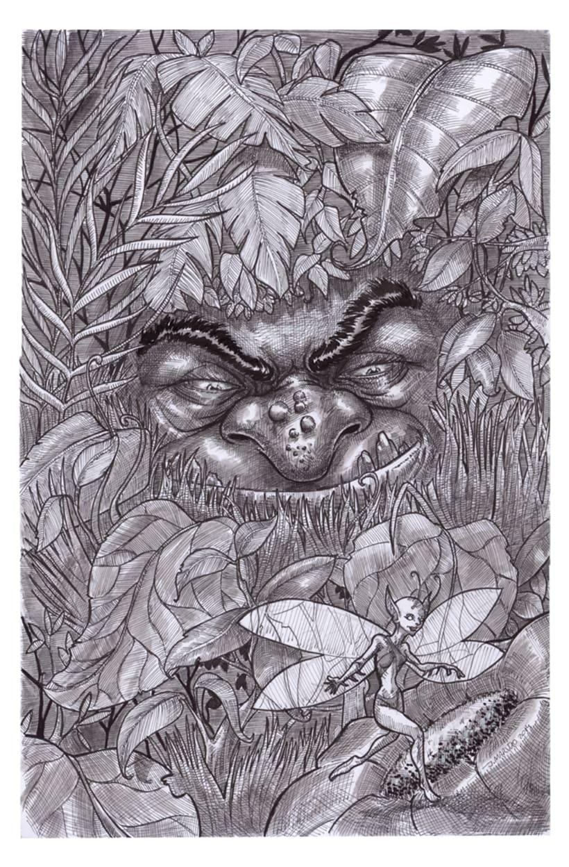 hada y troll, ilustración en tinta y agua 1