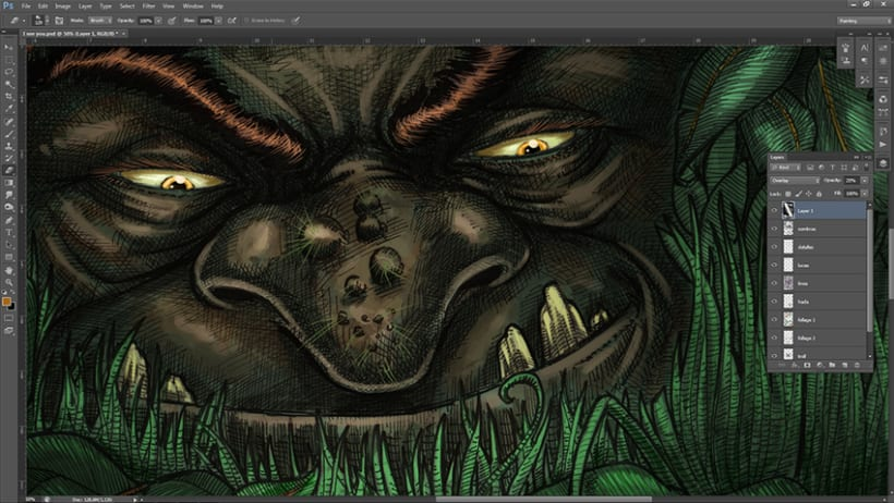 hada y troll, ilustración en tinta y agua 2