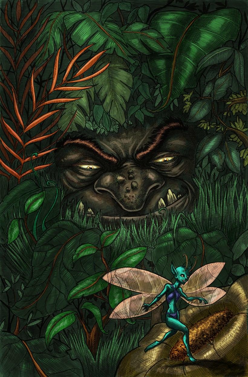hada y troll, ilustración en tinta y agua 4