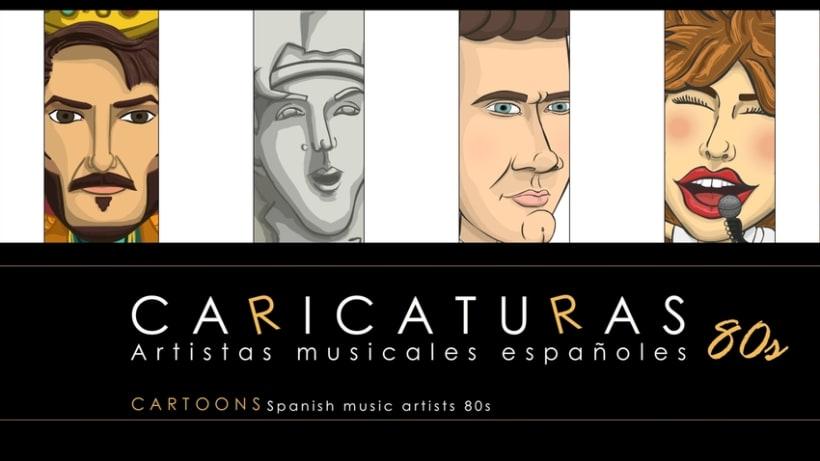 Caricaturas. Artistas musicales españoles 80s 1