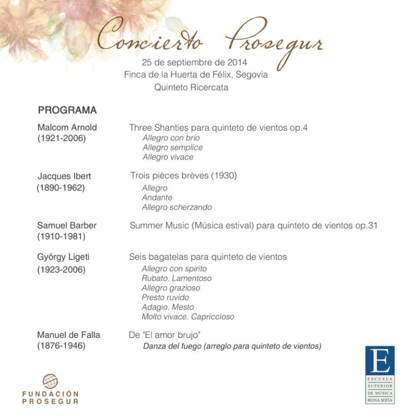 Concierto Prosegur. Quinteto Ricercata 3