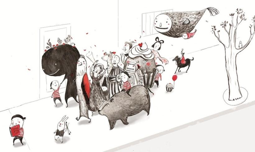 Paseando a la imaginación  (ilustración en tinta) 1