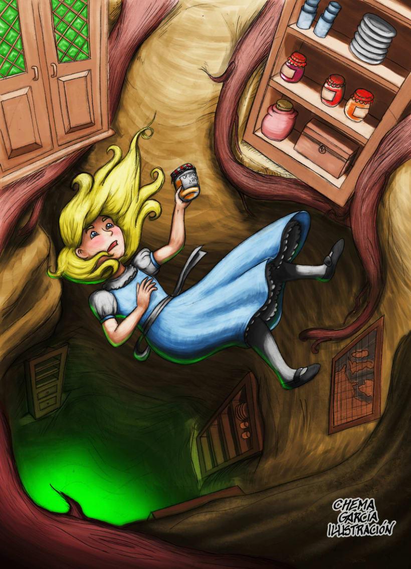 Alicia cayendo por la madriguera del conejo -1