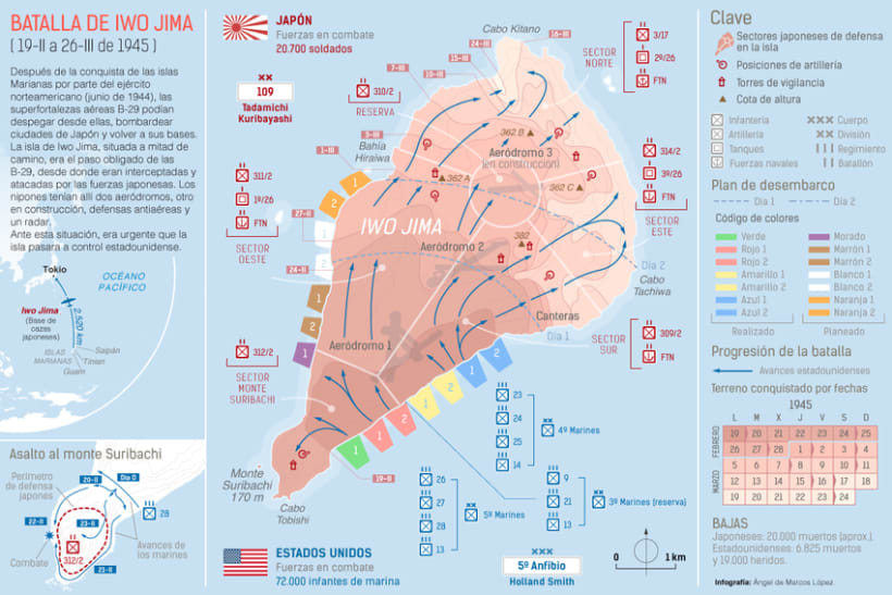 Gráfico sobre la batalla de Iwo Jima -1
