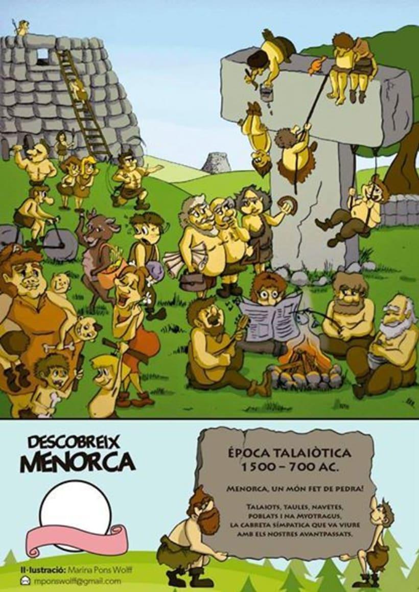 Historia de Menorca ilustrada para revista infantil El Escondite 1