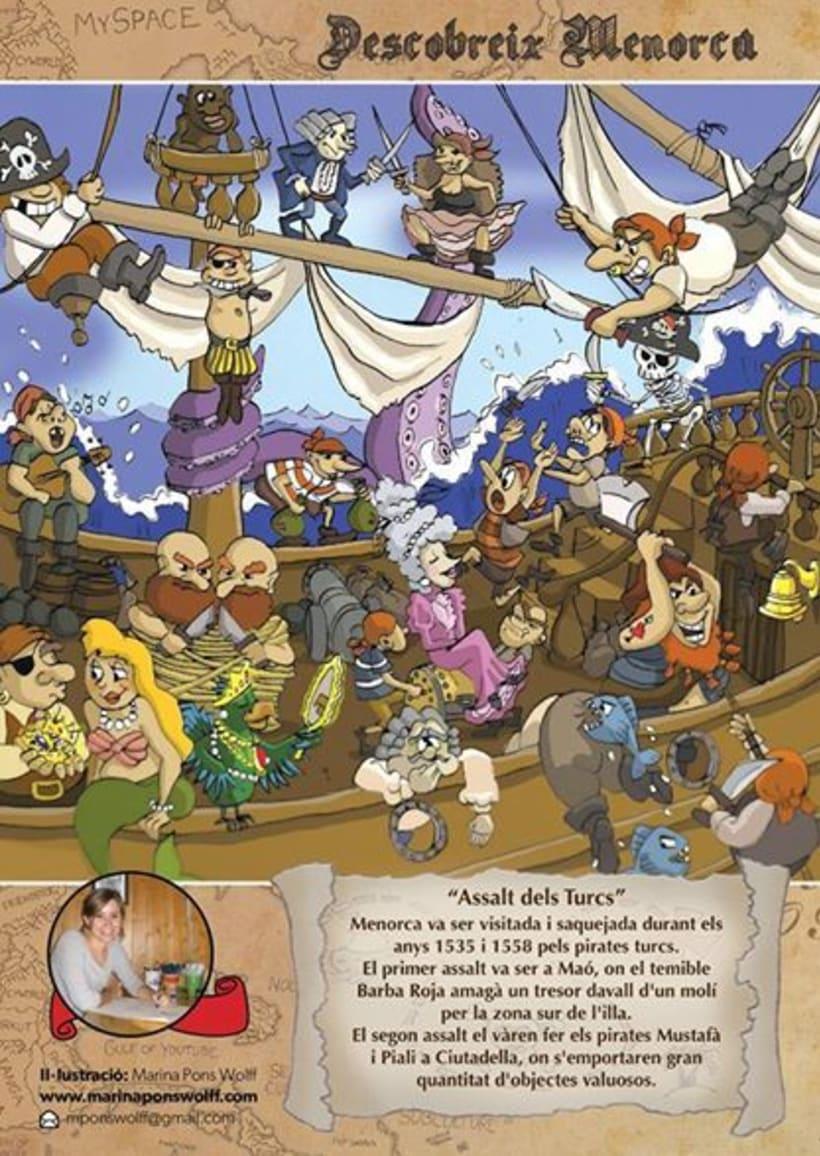 Historia de Menorca ilustrada para revista infantil El Escondite 2