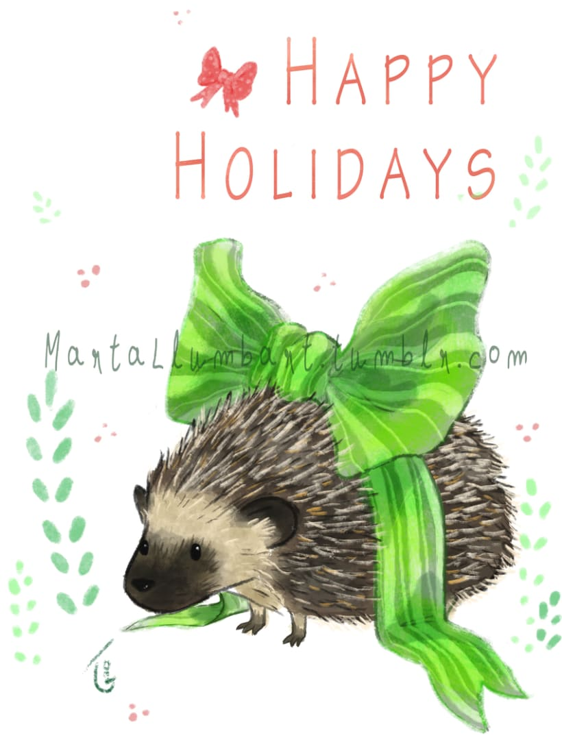 Hedgehog Holiday Card 0