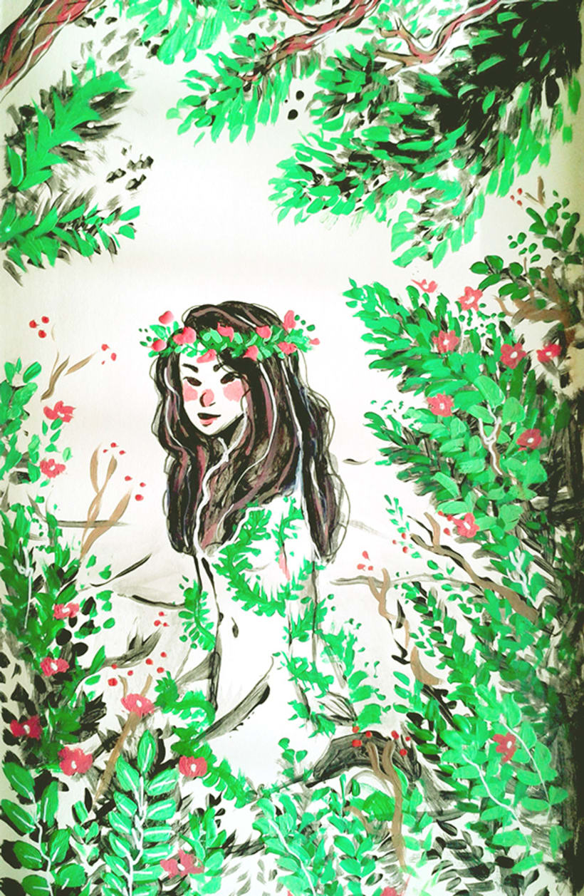 Forest Girl - Acrylics painting 0