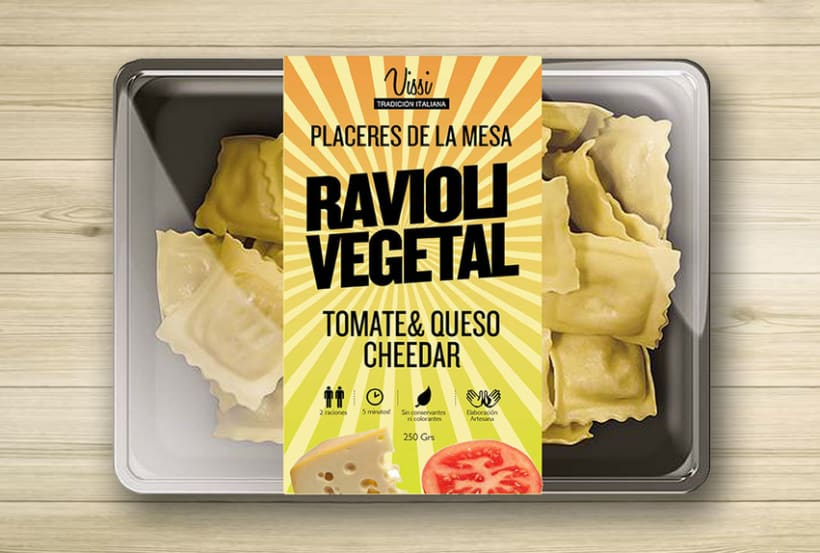 Packaging. Pasta Vissi. juvenil y tradicional. Fast food 2