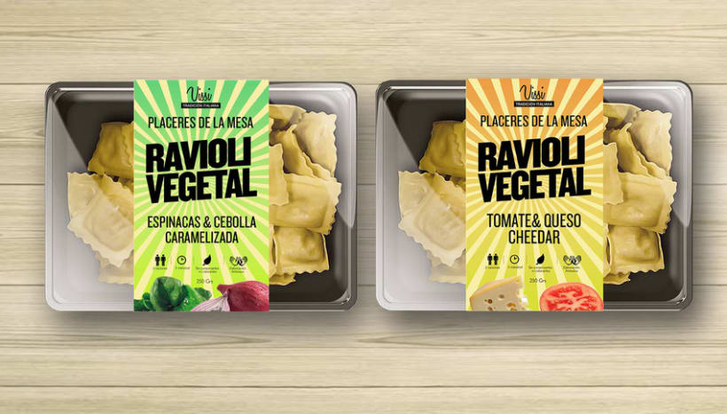 Packaging. Pasta Vissi. juvenil y tradicional. Fast food 0