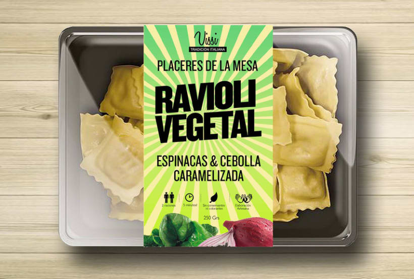 Packaging. Pasta Vissi. juvenil y tradicional. Fast food 1