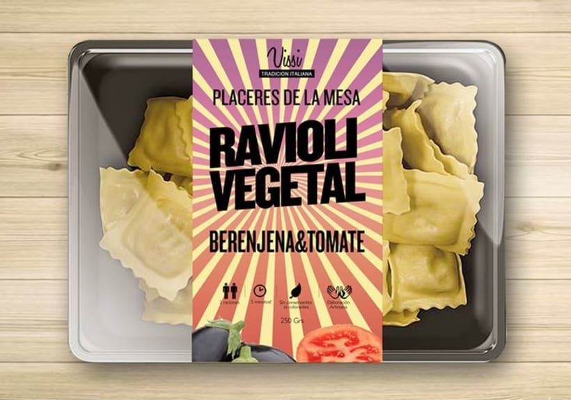 Packaging. Pasta Vissi. juvenil y tradicional. Fast food 3