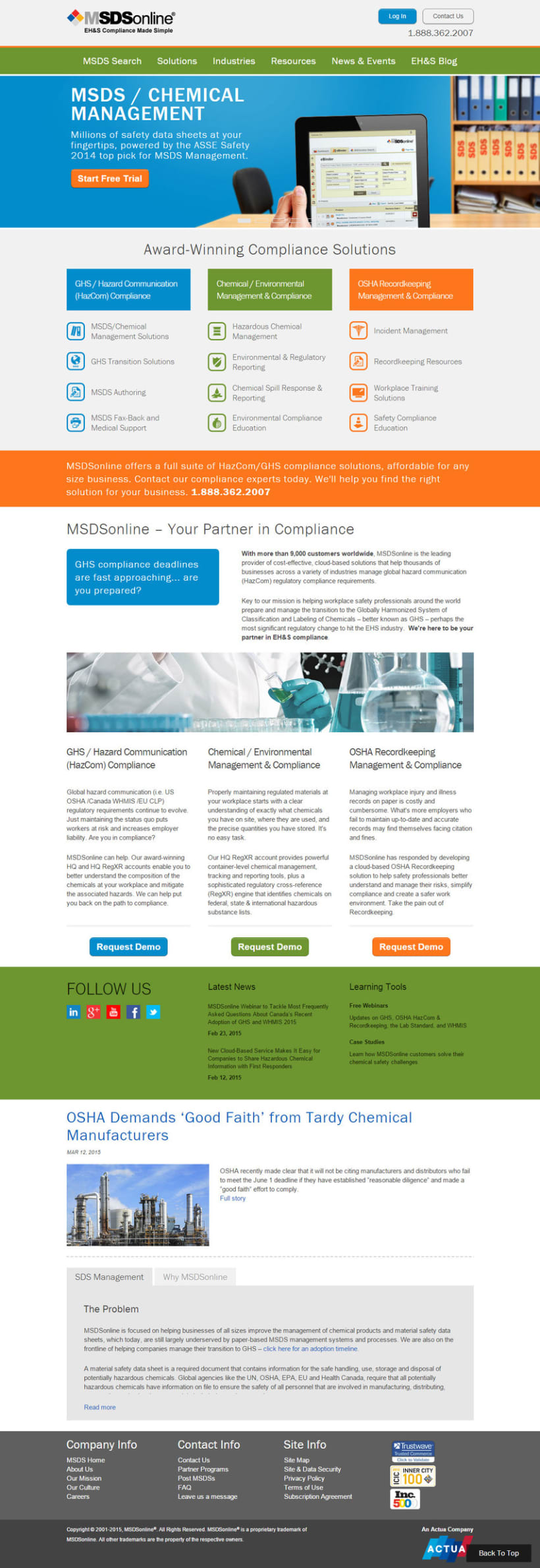 MSDSonline Corporate Website Redesign 0