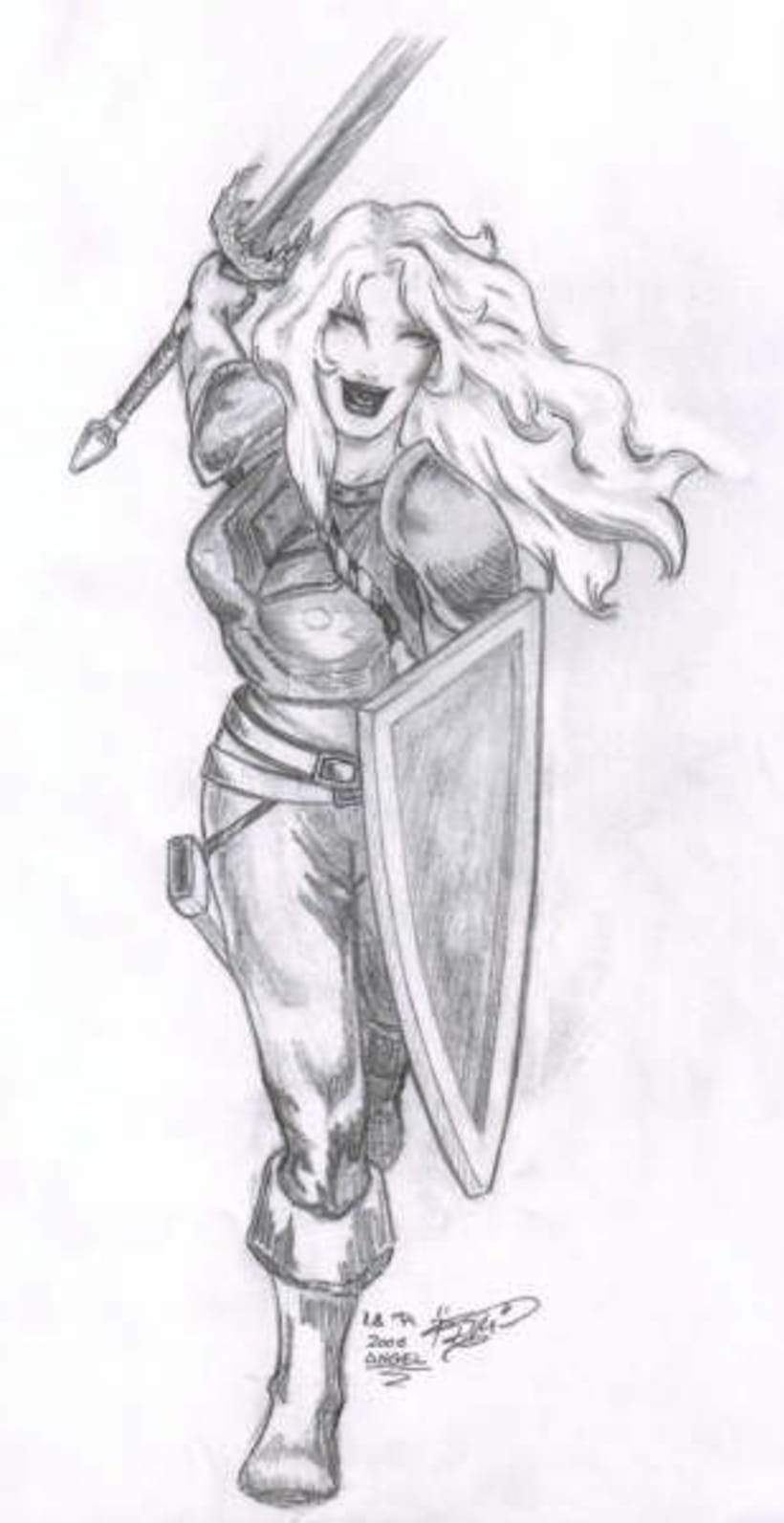 Fantasia guerreras medieval lapiz 10