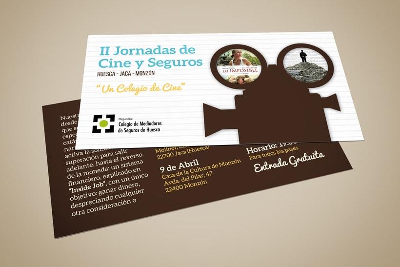 Cartel y Flyer: II Jornadas Cine y Seguros en Huesca 1
