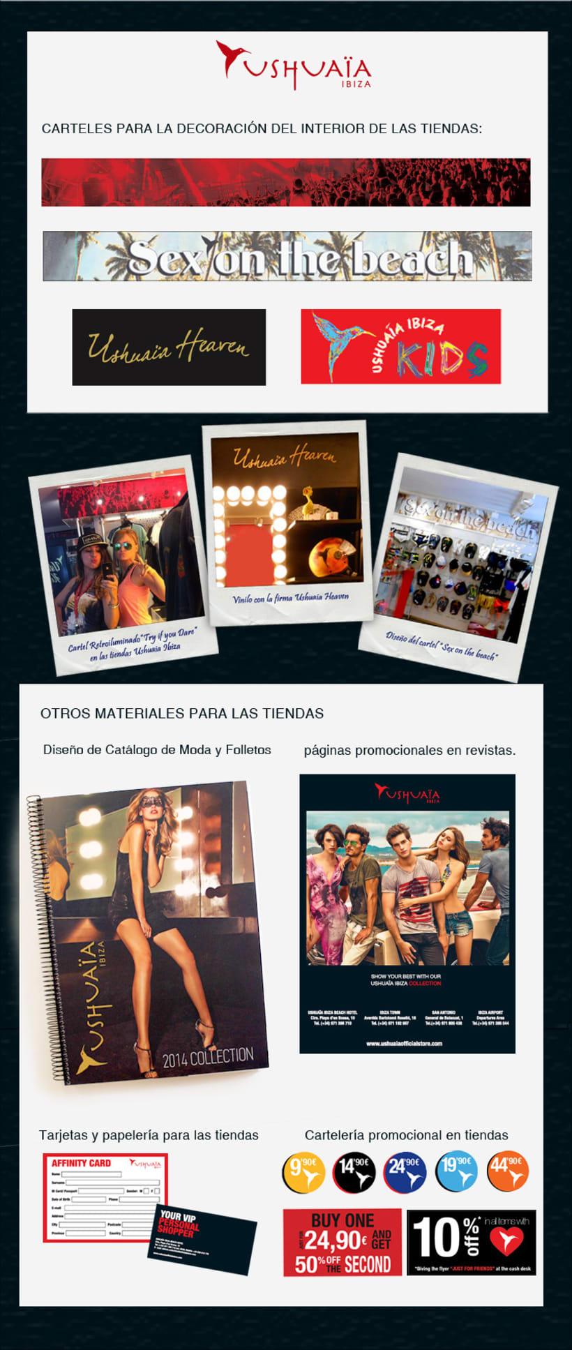 Diseño gráfico y cartelería para las tiendas Ushuaia Official Store y gestión con Proveedores 1
