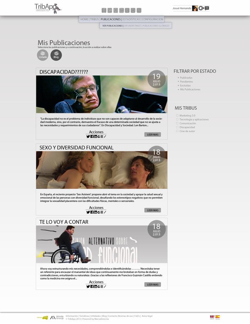Web TribApp. Diseño 2