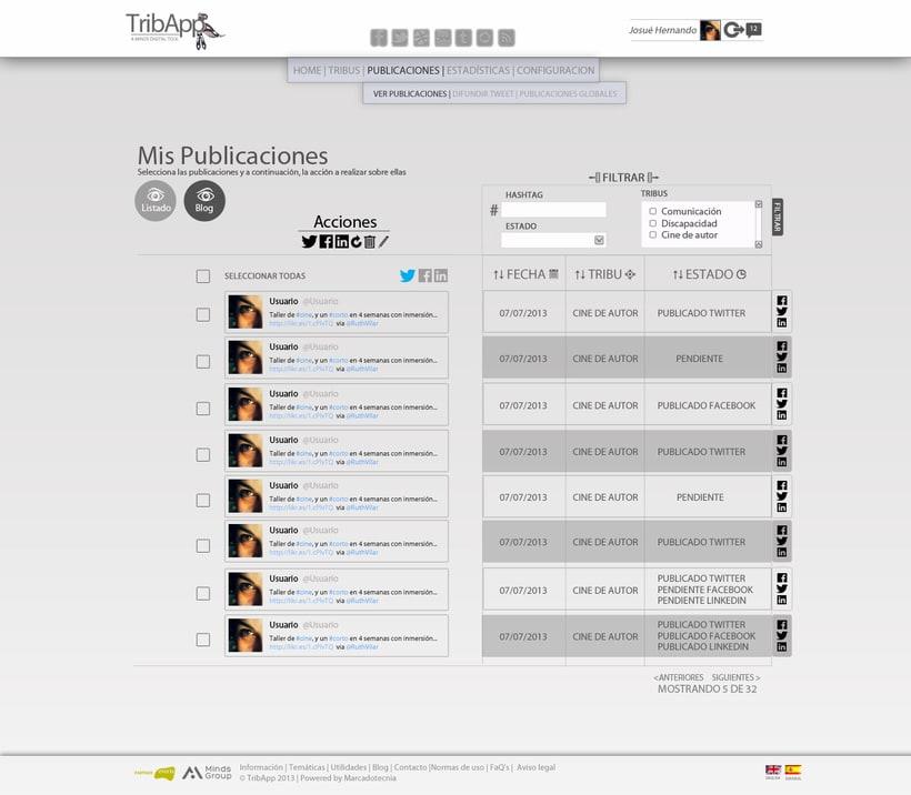 Web TribApp. Diseño 3