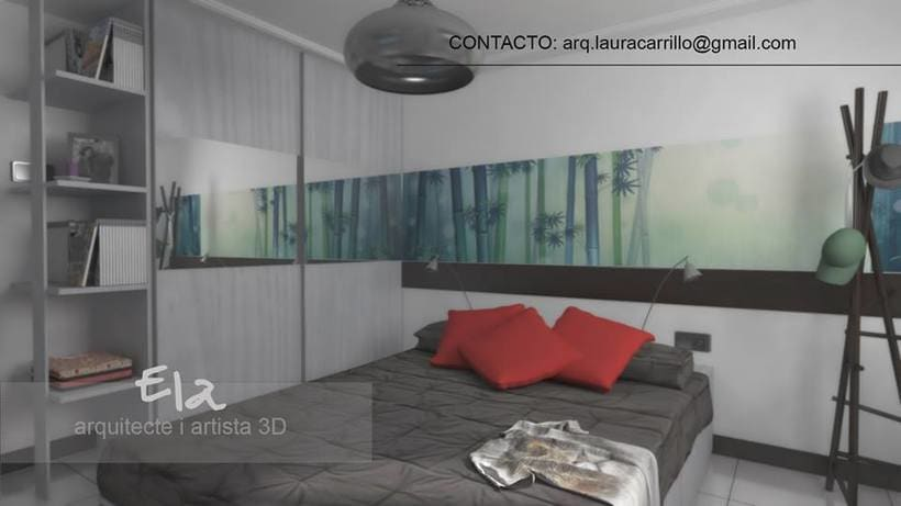 Diseño de habitación en un pequeño espacio 3DStudio + Vray -1