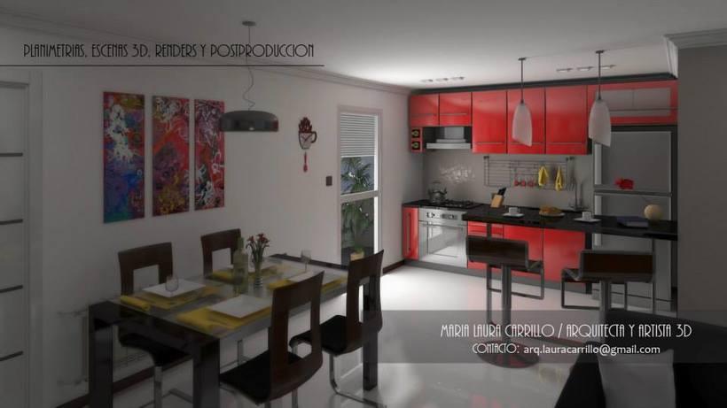 Dise o interior en un espacio peque o cocina comedor y for Diseno living comedor