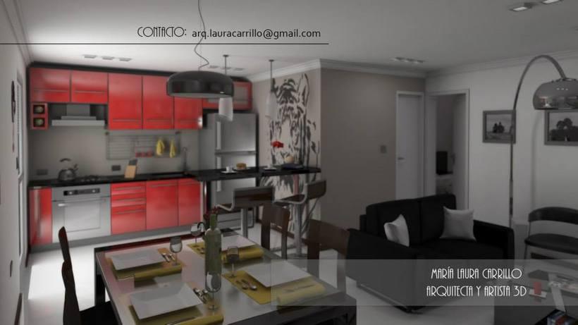 Dise o interior en un espacio peque o cocina comedor y for Disenos de living comedor y cocina