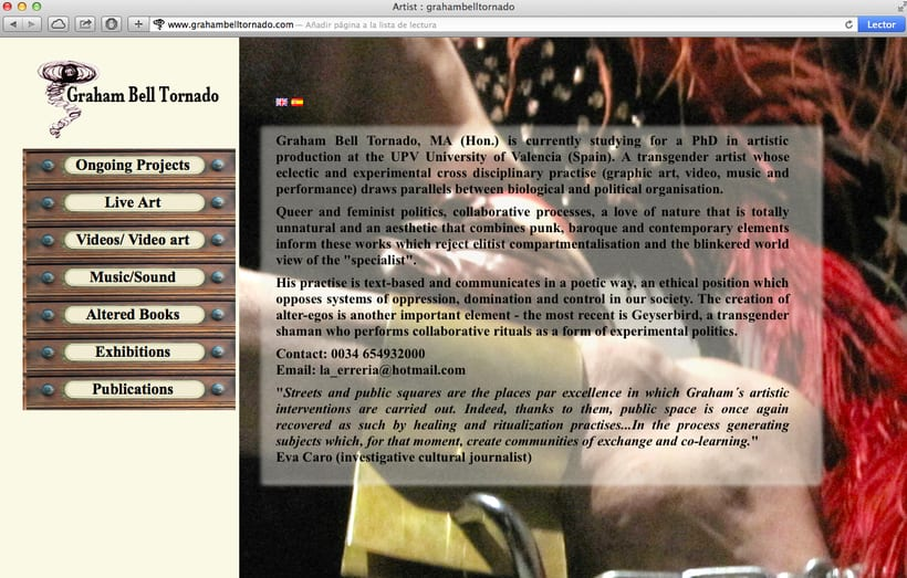 Diseño y creación web para Graham Bell (Artista). 0