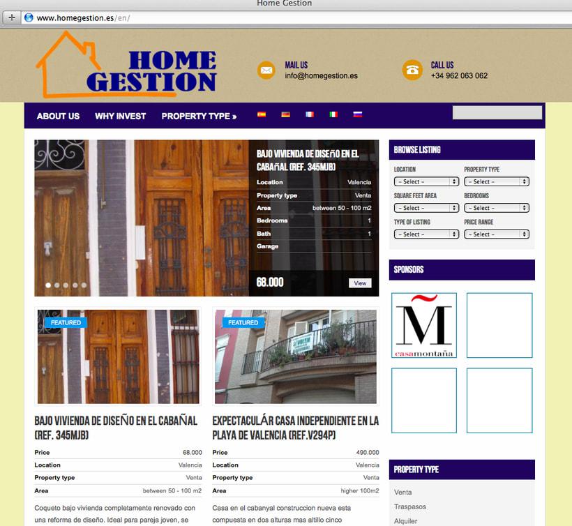 Diseño y creación web HomeGestion (Inmobiliaria) 0
