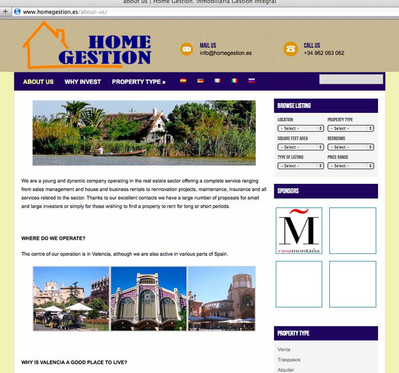 Diseño y creación web HomeGestion (Inmobiliaria) 1
