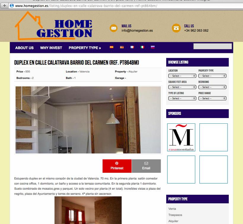 Diseño y creación web HomeGestion (Inmobiliaria) 2