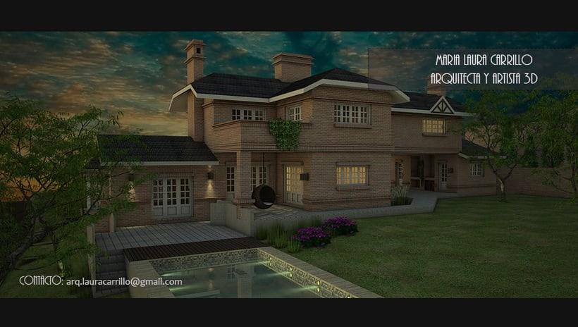 Casa unifamiliar Vista exterior SketchUP + Vray -1