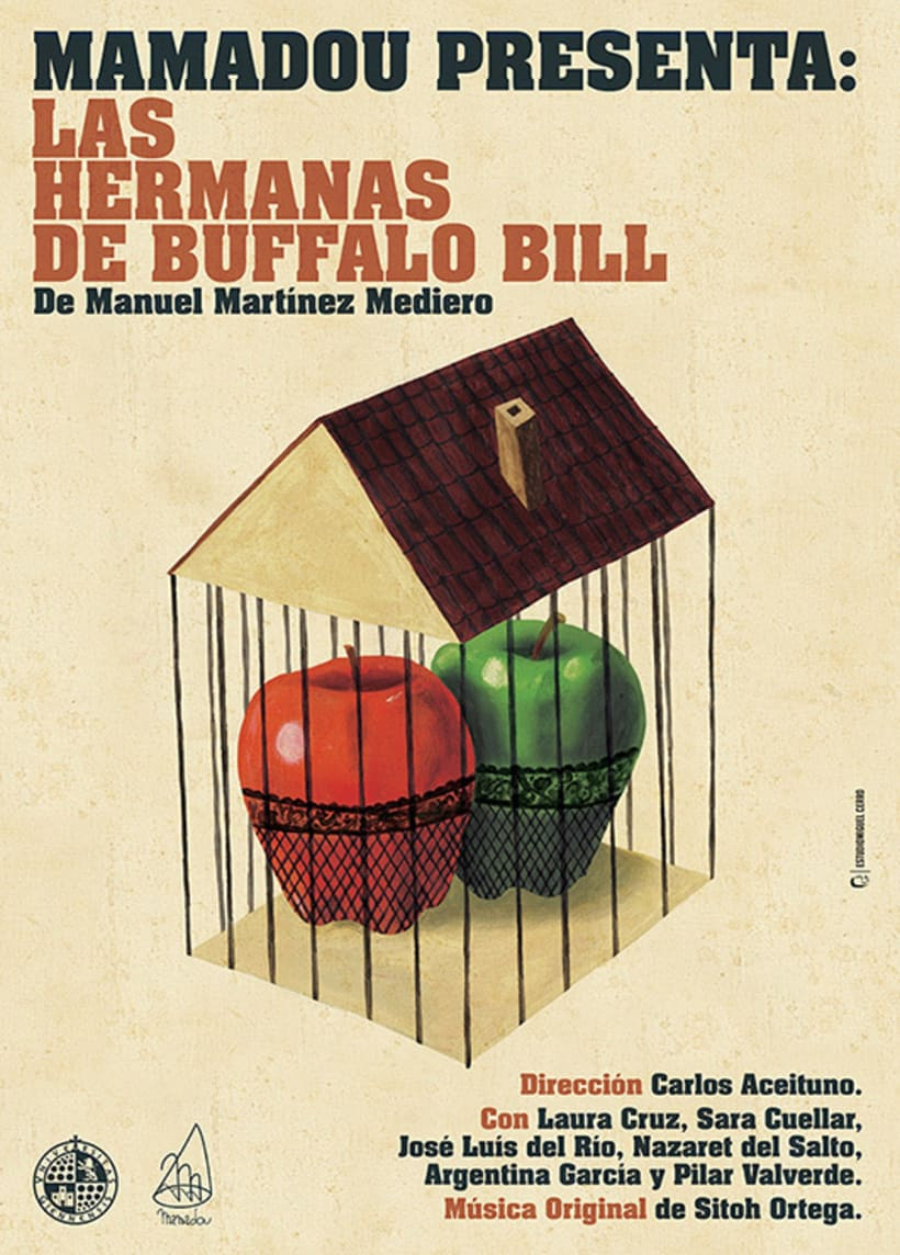 "Cartel Obra de teatro ""Las hermanas de Buffalo Bill"". 2015. -1"