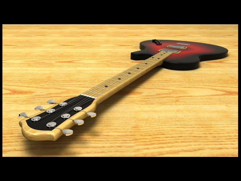 electric guitar - 3d model 0