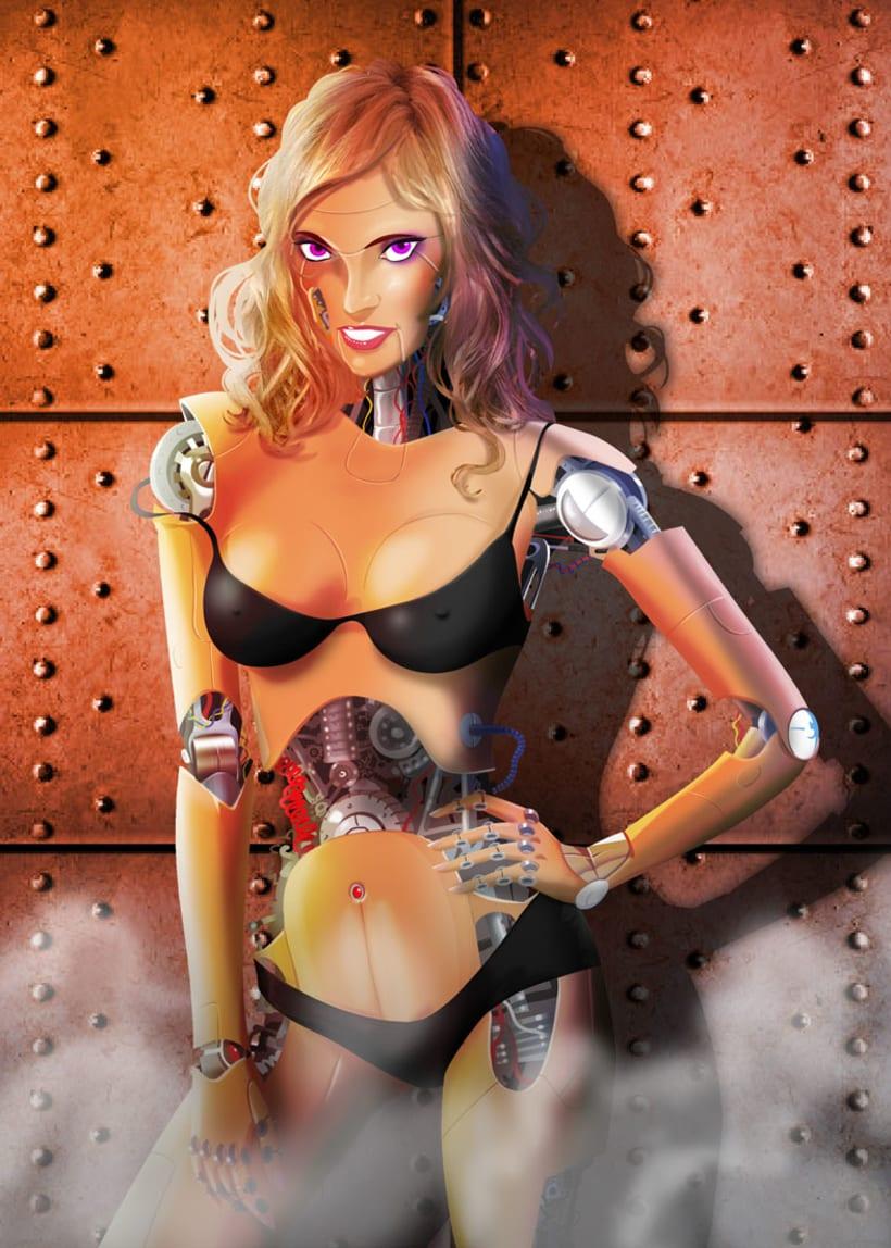 Ilustracion chica robot 0