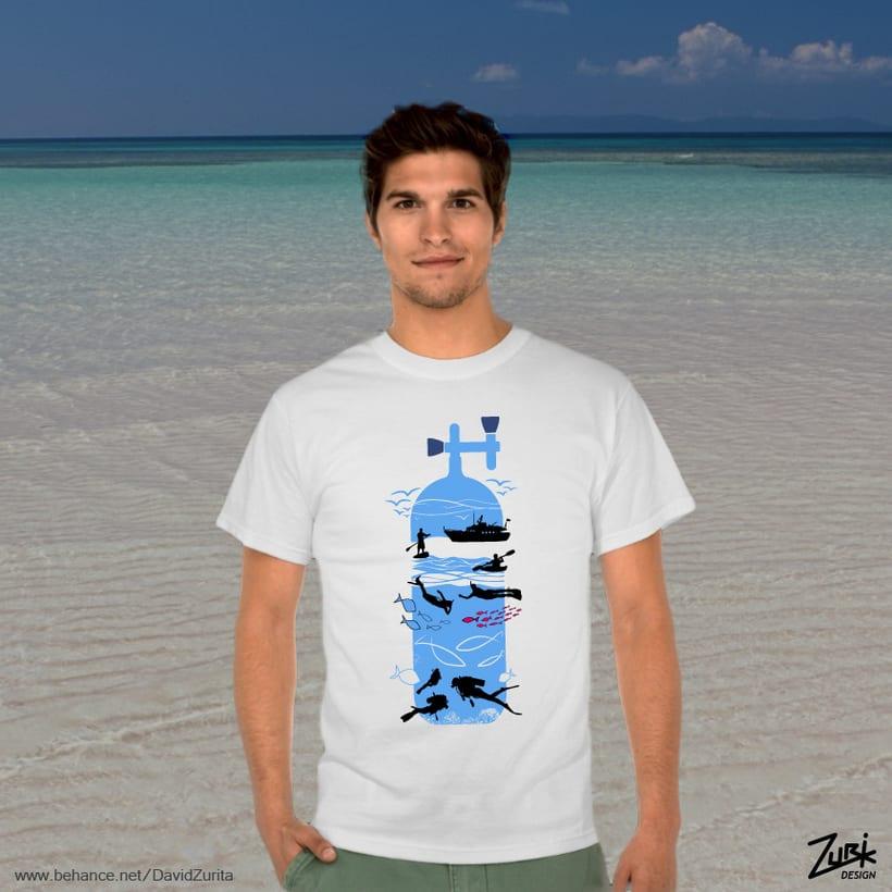 Diseño de camisetas: Buceo y multiaventura. 2