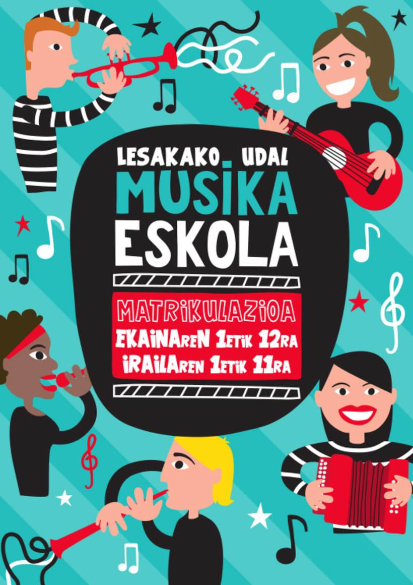Flyer para la campaña de Matriculación en la Escuela de Música de Lesaka 0