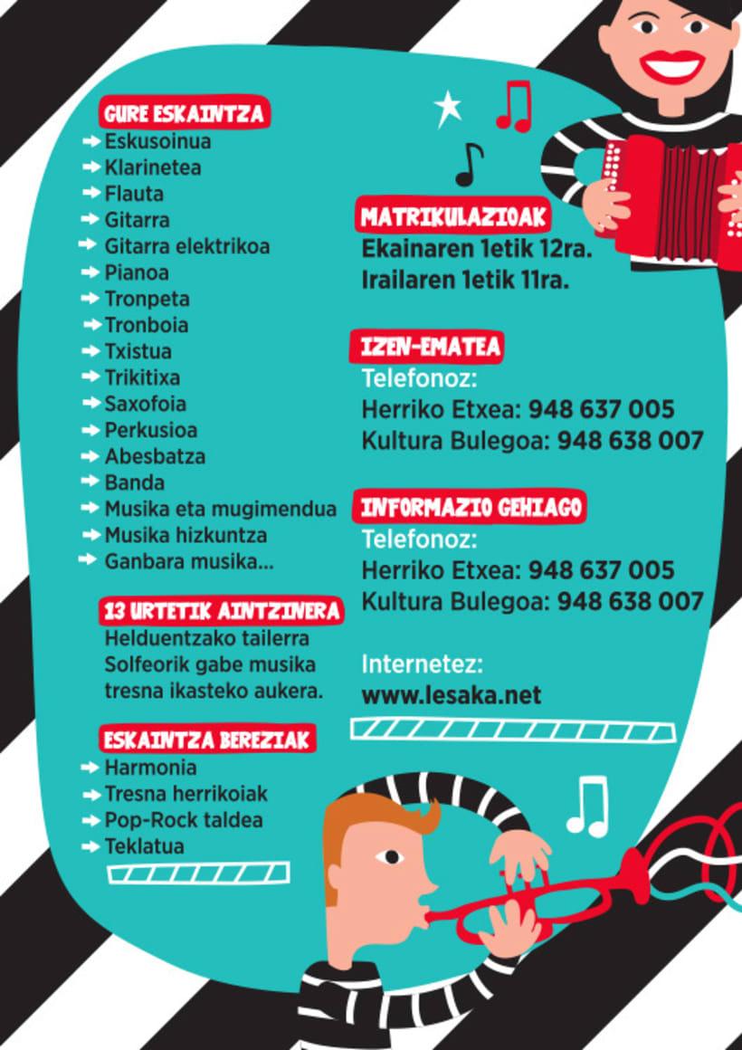 Flyer para la campaña de Matriculación en la Escuela de Música de Lesaka 1