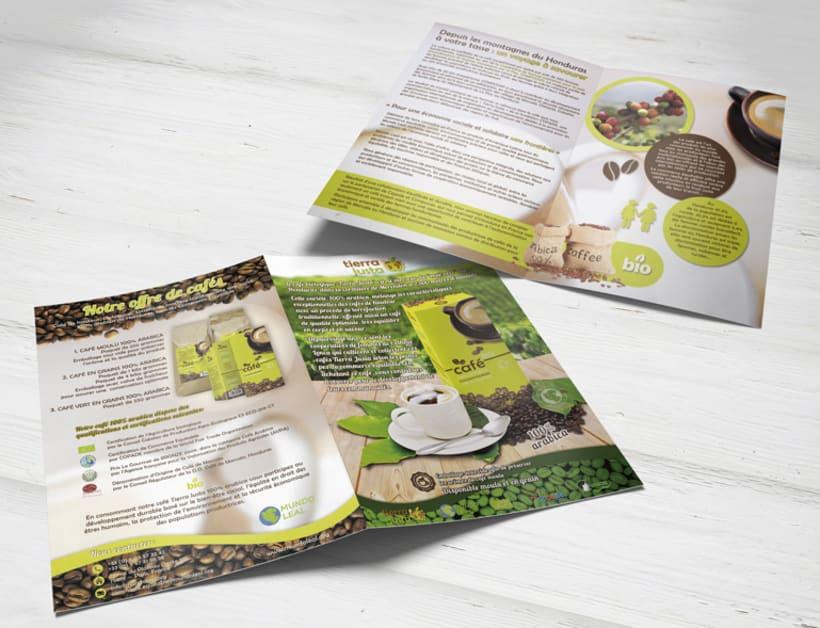 Folleto promocional del café Tierra Justa en Francia 0