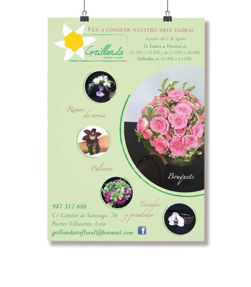 Flyer apertura de Grillanda, arte floral a tu medida 0