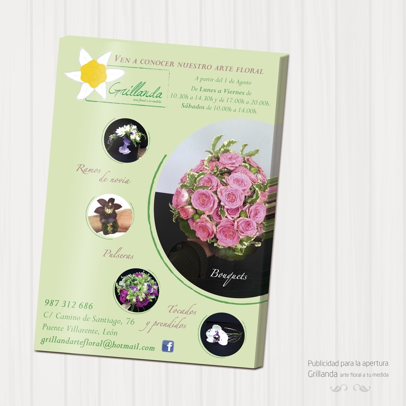 Flyer apertura de Grillanda, arte floral a tu medida 1