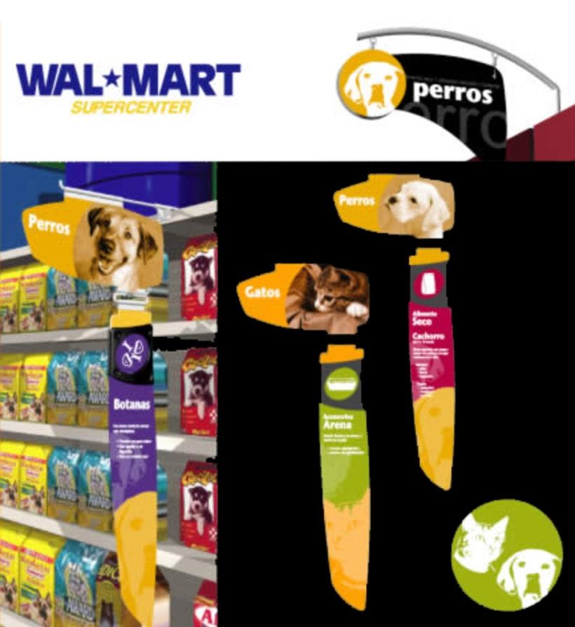 Señalización Walmart, área de Mascotas 0