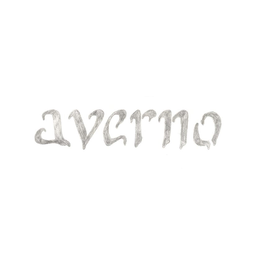 "Lettering ""Averno"", caligrafía manual escaneada con collage digital -1"