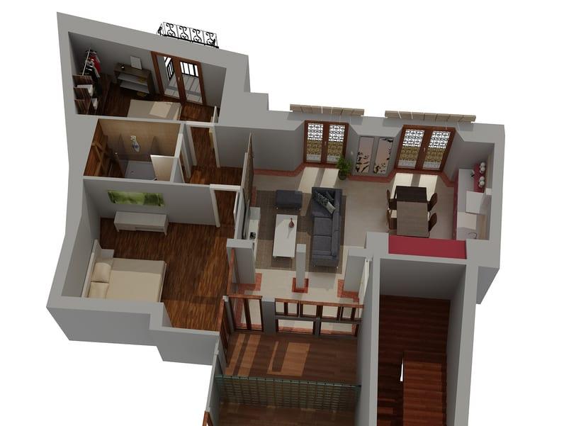 Proyecto reforma piso. plano sección. 3d -1