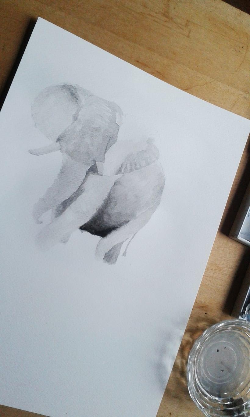 Elefante Acuarela. 3