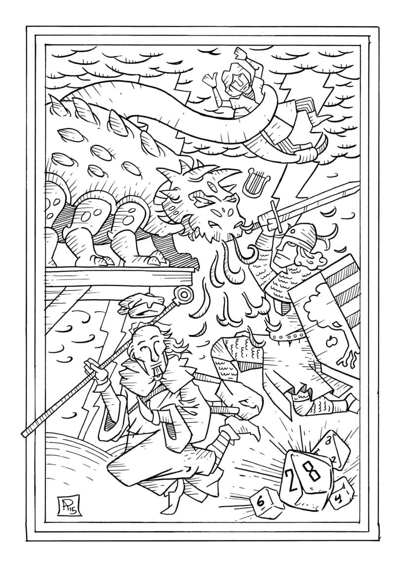 """Ilustración para el relato """"La Tarasca"""" (Incluido en el libro """"De Sirenas, Dragones y Fantasmas"""", Eds. Aristas Martínez y El Verano del Cohete) -1"""