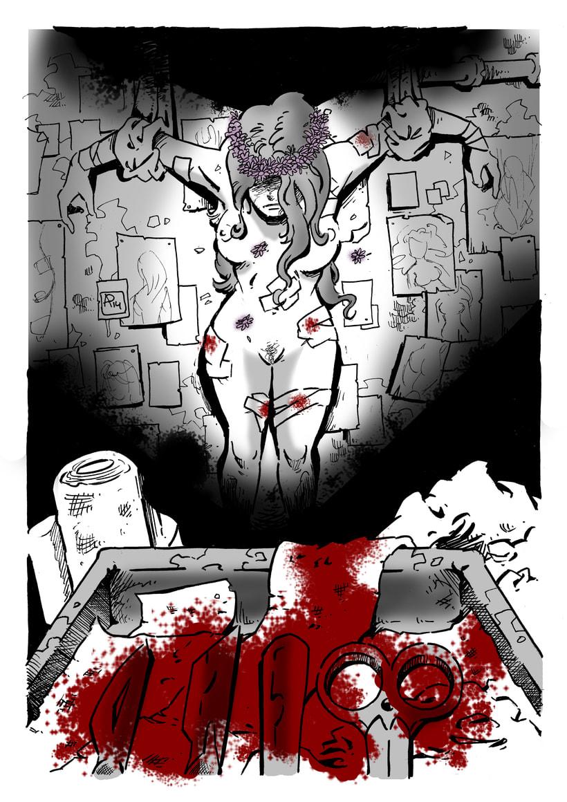 """Ilustración para """"Corona de margaritas"""", relato de la revista Ánima Barda (Ed. Pulpture) -1"""