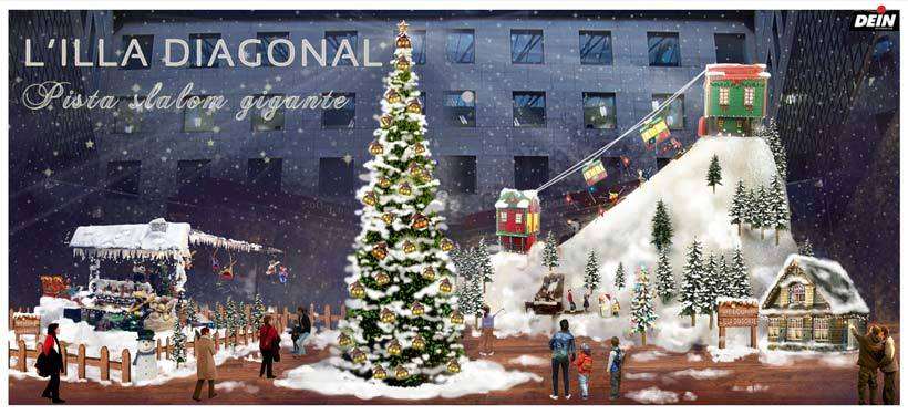 Ilustración digital - L'illa Diagonal, centro comercial. Navidad 2014-15 0