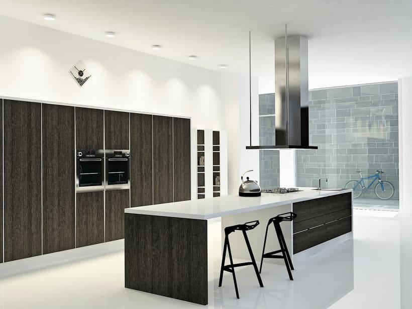 Cocina loft centro de madrid dise o de interiores for Diseno de interiores en 3d