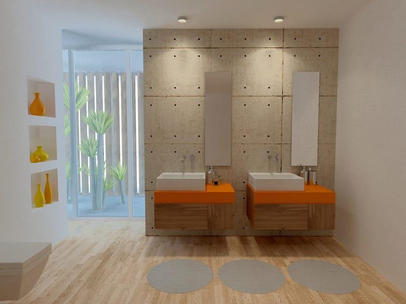 Baño Naranja, Ciudad del Campo / Diseño de Interiores -1