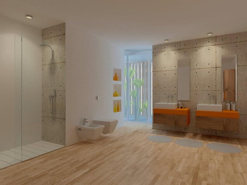 Baño Naranja, Ciudad del Campo / Diseño de Interiores 0